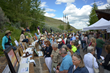Art lovers browse and bid on artwork for sale at National Museum of Wildlife Art Plein Air Fest in Jackson Hole, Wyoming.