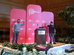 Our guys posing with the stage we built for Pomperu's opening reception at SCAA
