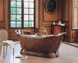 herbeau 0711 medicis 6 foot copper free standing soaking tub with center drain