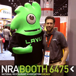 Lavu mascot at NRA with iPad point of sale for restaurants