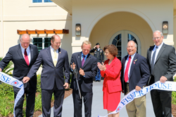 CUTTING THE RIBBON (l. to r.): David Coker, President, Fisher House Foundation joined by Hon. Ted Yoho, FL; Stephen Cade; Barbara Gentry; Rick Fabiani , Thomas Wisnieski.