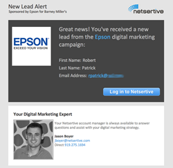 Automated email alerts give Netsertive clients the power to respond at Internet speeds when customers call or indicate purchasing interest online.
