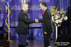 Fatih Ozmen Receives the Ellis Island Medal of Honor Award.