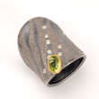 Atelier Zobel Peridot and Diamond Ring in Oxidized Silver, 18k and Platinum