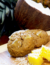 Piña Colada Omega Cookie, Surrounded by Pineapple Chunks and Toasted Coconut