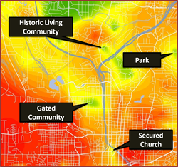 SecurityGauge captures variances in crime risk as subtle as a gated community or secured church.