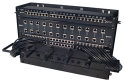 Rack equipped with patch panels and angled cables