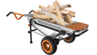 WORX AeroCart hauls firewood in wheelbarrow mode.