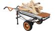 WORX AeroCart hauls firewood in wheelbarrow mode.