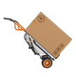 WORX AeroCart quickly converts to hand truck mode.