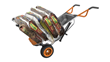 WORX AeroCart is equipped with drop-down extension arms, which help move bags of mulch and fertilizer.