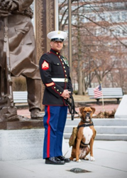 Sgt. Valdez and his dog Midas. Midas, the 2014 Dogs on Deployment mascot, is protected by Pets Best.