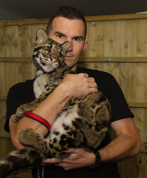 Balazs Buzas with clouded leopard cub