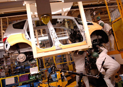 A car on the production line at Honda