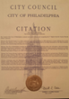 City of Philadelphia Citation Honoring and Recognizing The Uterine Fibroids Online Conference