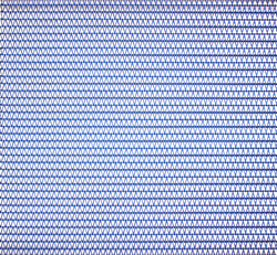 New blue anodized aluminum flexible mesh in Shade pattern from Cambridge Architectural.