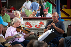 A photo of musicians performing