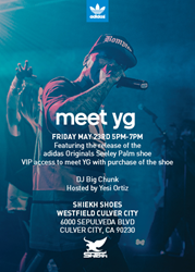 "Adidas unveils Shiekh shoes exclusive Seeley ""Palm"" with help of recording artist YG Saturday, May 24, at Shiekh Shoes Westfield Culver City."