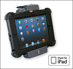The complete Havis Docking System for the Apple iPad features a rugged protective case to provide tablet charging and security in mobile workspaces.