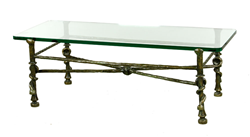 Diego Giacometti, Torsade Table, Glass and Bronze