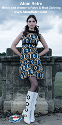 Atom Retro model wears 60s print dress