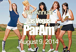 This is a photo of four female ParMate Caddies in various golf related poses. The photo is overlaid with info about the ParAm golf tournament.