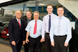 Macrae & Dick Mazda management team. Andrew Grzesinski, Group Managing Director, Rab Adam, Sales Manager, Dougie Cameron, Sales Executive,  Gary Hutchison, Aftersales Manager, Ronald Mackay, Franchise Manager