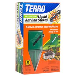 For long-term control of Argentine, ghost, little black, acrobat, pavement, odorous house, crazy, cornfield and other sweet-eating ants, place the TERRO® Outdoor Liquid Ant Bait Stakes in areas where ants have been observed.