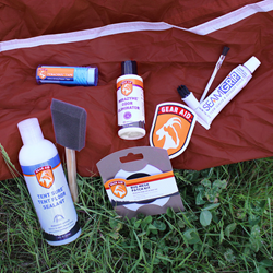 seam grip, mirazyme, tent sure, tenacious tape, t tape, bug mesh patch, tent restoration kit, gear aid