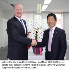Safway President and CEO Bill Hayes and Nisso CEO Dai Ono celebrate their agreement for the distribution of Safway's QuikDeck Suspended Access System in Japan