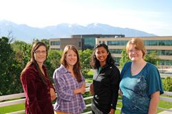 Salt Lake Community College anatomy students Caris Cassady (l-r), Jennifer Gebhardt, Kari Walker and Sandy Pick.