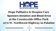 Community Donation and Blood Drive Sponsored by Hope Palliative & Hospice Care