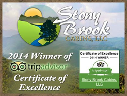 Stony Brook Cabin Rentals in Gatlinburg awarded 2014 Certificate of Excellence Award from TripAdvisor.