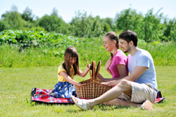 family of three enjoying a picnic