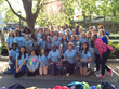 Music Director Ginny Flynn and the Garrison Forest Middle School Choir with their 1st places trophies at the 2014 Music in the Parks competition at Hershey Park.
