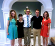 Dr. Andrew Fabich (center) with Liberty University students (left to right) Cassandra Black, Hannah Drown, Ryan Montalvo, and Abigail Lenz at the Virginia Academy of Science Annual Meeting on May 16.