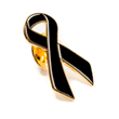 Gold trimmed black lapel pin for Skin Cancer