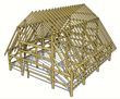The Finger Lakes Museum barn timber frame, crafted of reclaimed barn timbers from Wisconsin, will be re-raised this June 2014.