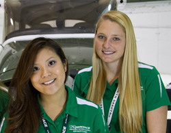 Pilot Carly Namihira with teammate Amy Warbalow