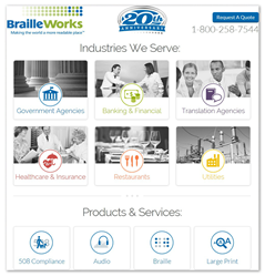Image showing a screen-shot of the new BrailleWorks.com homepage