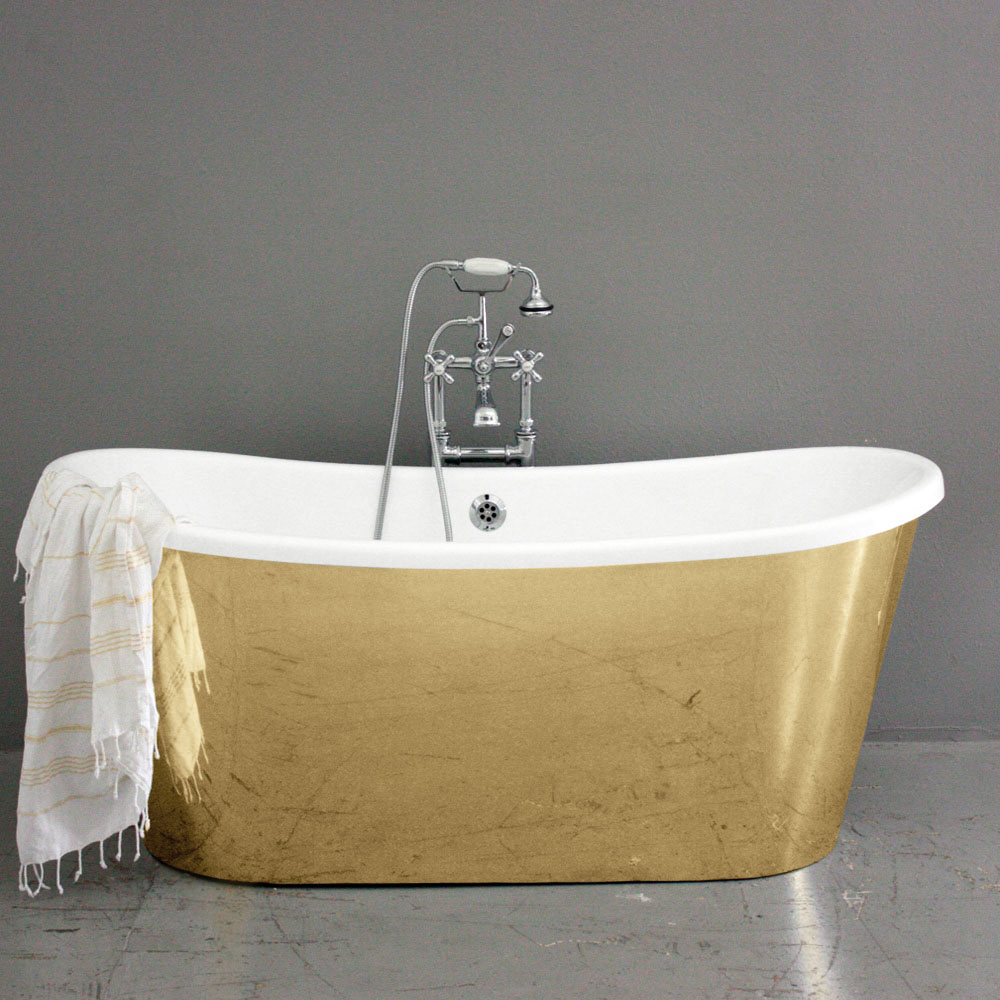 Polished Brass Exterior BathtubCast Iron French Bateau with Polished Brass  Exterior. Penhaglion Presents a New Bathtub Size to Meet Demand