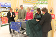 Unveiling Caroline's Cart at the ShopRite of Woodbridge, NJ (l-r: Bart Connor, Rob Stetts of P&G, Caroline's Cart creator Drew Ann Long, Nadia Comaneci and Richard Saker, ShopRite of Woodbridge owner)