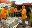 Scientology Volunteer Ministers distributing food to people left homeless by floods in Croatia
