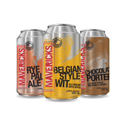 Mavericks Brewing introduces Rye Pale Ale, Belgian Style Wit and Chocolate Porter low-alcohol, canned beers