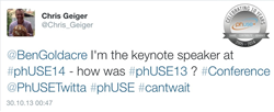 Chris Geiger via Twitter about his excitement to be the keynote speaker for PhUSE 2014