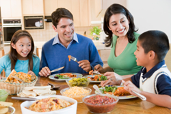 Regularly scheduled meal times promote healthy lifestyle for families.
