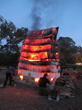 Fire sculpture by Nina Hole (2):  In a casing made of insulating material developed for aerospace, the house operates as its own oven; photo @ Nina Hole