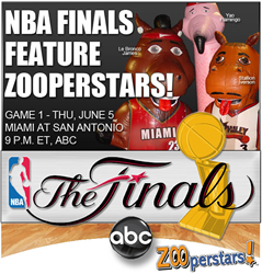 ZOOperstars! characters like LeBronco James, Stallion Iverson, Yao Flamingo, Mackerel Jordan, and many more will be in San Antonio to entertain fans during halftime at Game 1 of the NBA Finals.