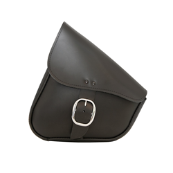 Willie and Max black leather swingarm bag with chrome buckle