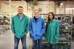 Jordan, Barbara and Danielle on the Manufacturing floor